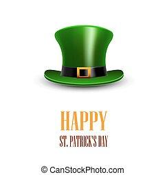 Green St. Patrick Day hat. Día de San Patricio. Feliz St P