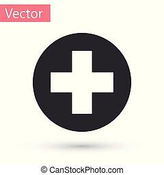 Grey Medical Cross en el icono del círculo aislado en el fondo blanco. El símbolo médico de primeros auxilios. Ilustración de vectores