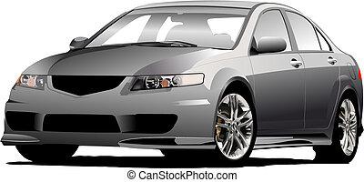 (grey), vector, gris, sedán, coche, ilustración, road.