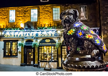 greyfriars, estatua, bar, bobby
