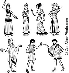 griego, antiguo, tragedia, caracteres