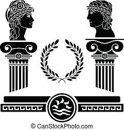 griego, cabezas, columnas, humano