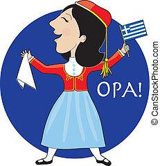 griego, dama, bailando
