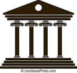 griego, negro, columnata