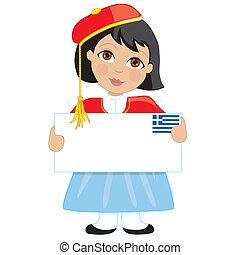 griego, niña, señal
