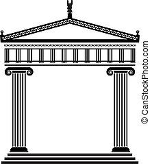 griego, vector, antiguo, arquitectura