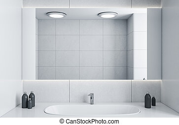 grifo, espejo., interior, moderno, lavabo, cuarto de baño