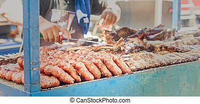 grill., confuso, otro, salchichas, carnes, plano de fondo, cocinero, cook.
