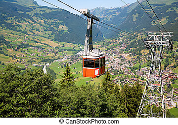 grindelwald, cablegrafíe coche, cantón, suiza, berna
