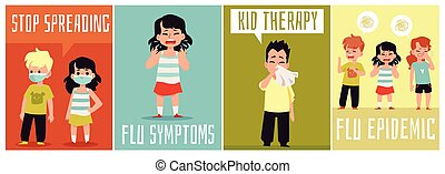 gripe, mask., vector, niños, síntomas, llevando, conjunto, carteles