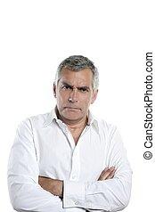 gris, enojado, pelo, serio, hombre de negocios, hombre mayor