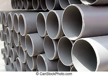 gris, filas, apilado, tubos, plástico, pvc, tubos
