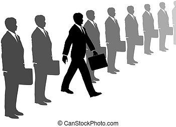 gris, juegos de negocio, iniciativa, pasos, línea, afuera, hombre