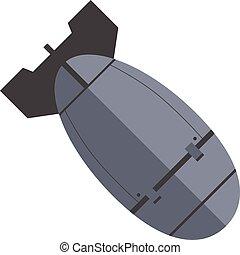 gris, nuke, bomba, illustration., plano, nuclear, aislado, o, fondo., vector, abajo., blanco, título