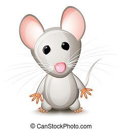 gris, poco, ratón