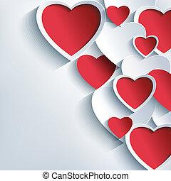 gris, valentines, plano de fondo, corazones, elegante, día, rojo, 3d