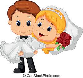 groo, juego, caricatura, novia, niños