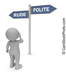 grosero, mannered, interpretación, indica, señal, malo, cortés, 3d