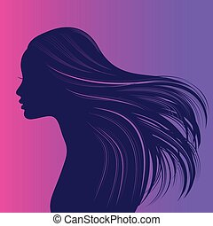 grueso, largo, niña, pelo, hermoso, ondulado