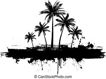 grunge, árboles de palma