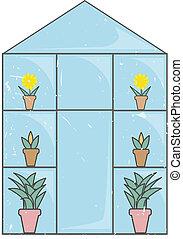 grunge, azul, invernadero, luz, vidrio