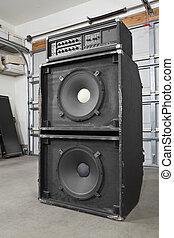 grunge, bajo, garaje, vendimia, amplificador, banda