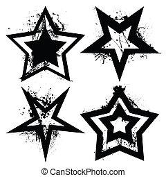 grunge, conjunto, estrella