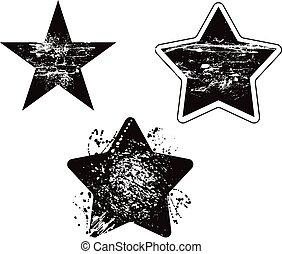 grunge, conjunto, vector, diseño, dañado, estrella, elemento