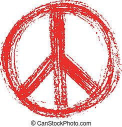grunge, creado, símbolo, paz, style., rojo