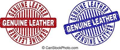 Grunge GENUINE LEATHER rasguñó sellos redondos