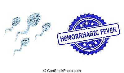 grunge, hemorrhagic, esperma, icono, células, sello, recursion, collage, fiebre
