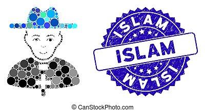 grunge, icono, islam, católico, estampilla, collage, sacerdote