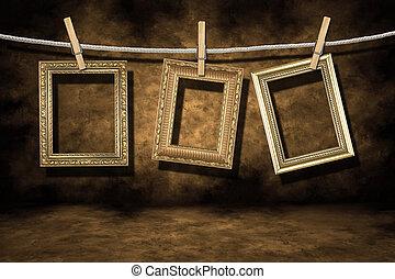 grunge, oro, afligido, foto, plano de fondo, marcos