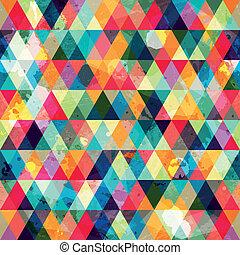 grunge, patrón, triángulo, coloreado, seamless