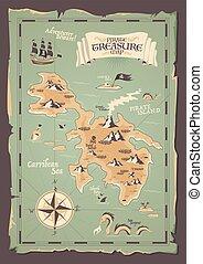 grunge, pirata, ilustración, mapa