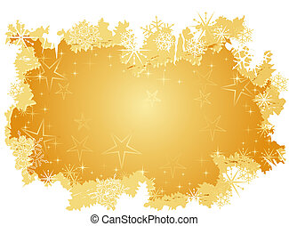 grunge, plano de fondo, nieve, dorado, estrellas, escamas