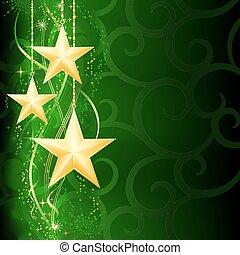 grunge, plano de fondo, nieve, elements., navidad, festivo, dorado, verde, oscuridad, estrellas, escamas