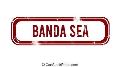 grunge rojo, estampilla, -, botón, banda, mar