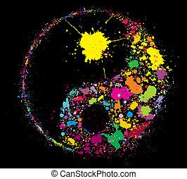 grunge, símbolo, salpicaduras, yan, yin, pintura, hecho, colorido