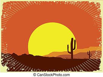 Grunge salvaje oeste del atardecer. Un paisaje desierto con sol