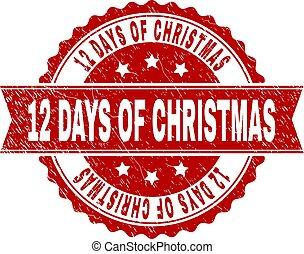 Grunge texturó 12 días de sello postal de Navidad