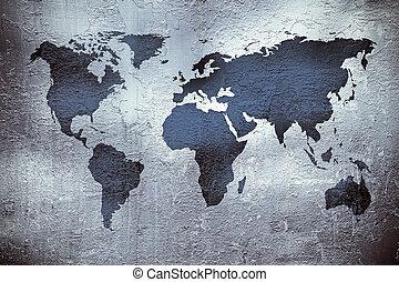 grunge, textura, encima, metal, mapa del mundo