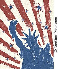 grunge, themed, fondo., norteamericano, vector., día, independencia