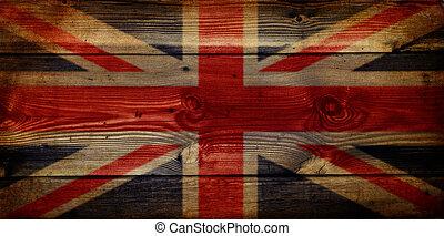 grunge, unión, de madera, bandera, gb, plano de fondo, gato