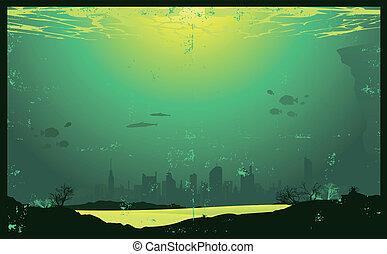 Grunge urbano paisaje urbano submarino