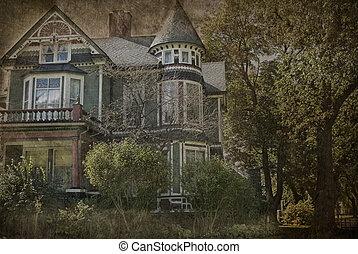 grungy, casa, victoriano