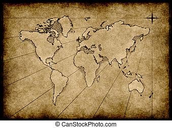 grungy, mundo, viejo, mapa