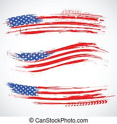 grungy, norteamericano, bandera, bandera