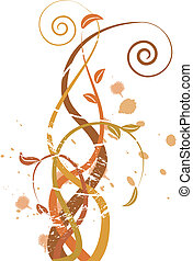 grungy, otoño, ilustración