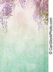 grungy, plano de fondo, frontera, floral